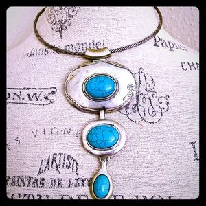 Jewelry - Indian silver and turquoise pendant (antique)